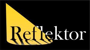 Logotip reflektorja: osvetljena beseda Reflektor